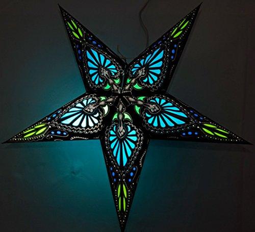 Hummingbird Paper Star Lantern (Firoza Blue on Black) by UMTA