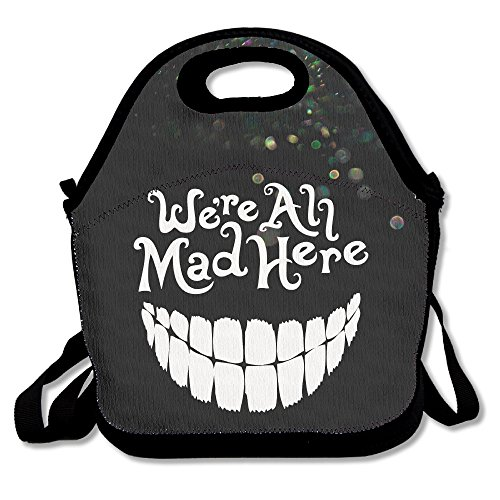 Bakeiy Evil Teeth We're All Mad Here White Lunch Tote Bag Lunch Box Neoprene Tote For Kids And Adults For Travel And Picnic School