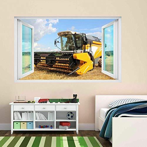 Cosechadora Maquinaria agrícola Campo de cultivos Etiqueta de la pared 3D Calcomanía mural Pegatinas de pared 3D 60x90cm