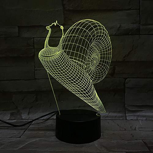 Caracol animal 3D luz nocturna luz variable ilusión óptica 3D LED luz nocturna con USB neón regalo de cumpleaños creativo para niños, niñas, niños