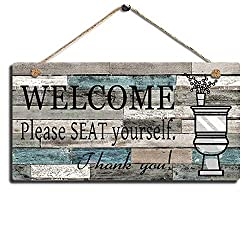 SAC SMARTEN ARTS Printed Wood Plaque Sign Wall Hanging Welcome Sign Please Seat Yourself Wall Art Sign Size 11.5 x 6 (Blue-Black)
