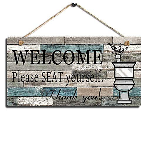 "Printed Wood Plaque Sign Wall Hanging Welcome Sign Please Seat yourself Wall Art Sign Size 11.5"" x 6"" (Blue-Black)"