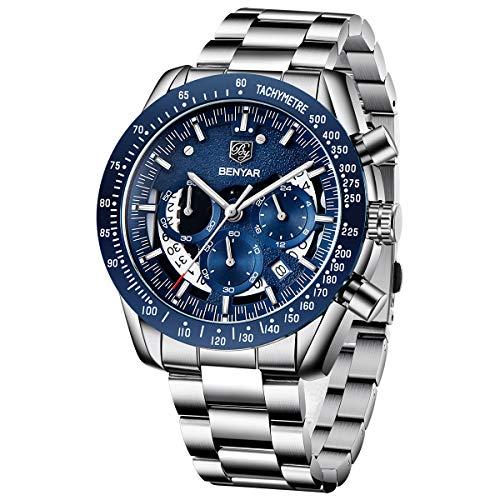 BY BENYAR Reloj Cronógrafo para Hombre Movimiento de Cuarzo Moda Negocios Deportes Watch 30M Impermeable Elegante Regalo de los Hombres