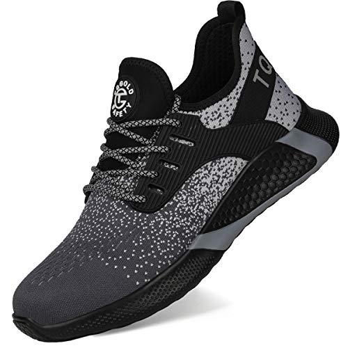 [tqgold] 安全靴 作業靴 鋼先芯(JIS H級相当)軽量 スニーカー ワークシューズ メンズ レディース 通気性 耐摩耗 耐滑ソール セーフティーシューズ 大きいサイズ (グレー 25.5cm)