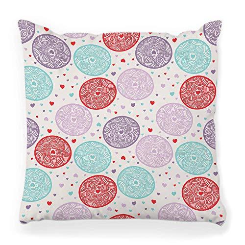 REAlCOOL Funda de almohada cuadrada suave de 45,7 x 45,7 cm, patrón de encaje suave HeSprinkles abstracto, celebración de cumpleaños, círculo lindo evento divertido para el hogar