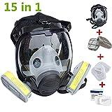 Chidi Toy Máscara Facial de cara Completa, kit de Respirador Máscara de Gas Reutilizable Máscara antigás Respirador de polvo con Filtro de silicona para pintar Aerosol Productos Quimicos (15 in 1)