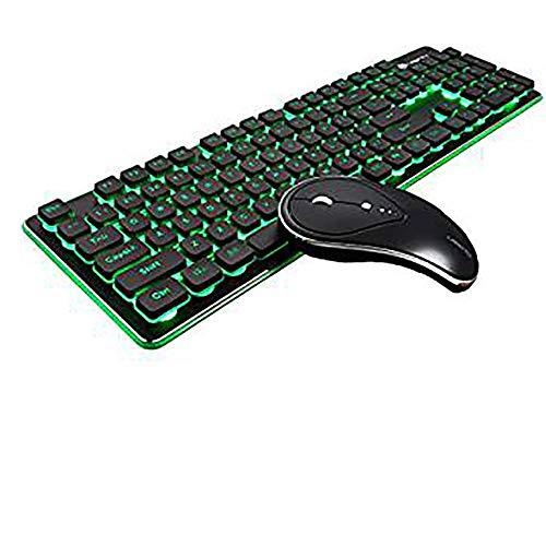 XXF toetsenbord en muis, oplaadbare draadloze toetsenbord en muis combo waterbestendigheid 2.4 Ghz backlit en draadloze geluidloze muis met Nano USB-ontvanger voor laptop pc Mac