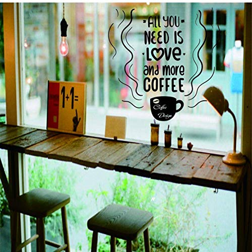 Coffe Cup Window Glass Logo Decals Tea Time Store Pegatinas de pared Coffee Shop Sign Window Art Mural Removable Kitchen Decor 42X42Cm