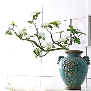 Artificial and Dried Flower Artificial Rhododendron Artificial Flower Fake Flower Decoration Foam Branch Soft Shape Azalea rhododendra – ( Color: White )