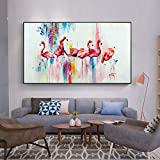 N / A Pintura al óleo Nordic Animal Poster Pink Flamingo Canvas Painting Living Room Wall Art Picture (Imprimir sin Marco) C 50x100CM