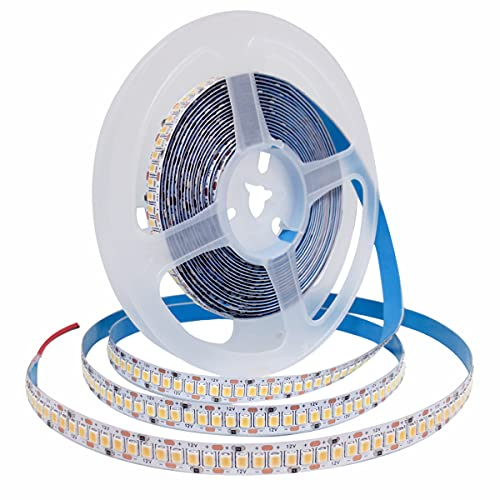 Striscia LED Tesfish, 12V Bianco Caldo 3000K Strisce LED 5M 2835 IP20 240 LEDs/M, Totale 1200 LEDs Nastri LED Super Luminosa Luci Striscia LED per Camera da letto, Scaffali, decorazione Cucina