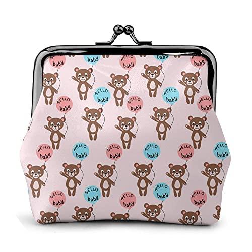 Bear Hello - Monedero de piel con hebilla para bebé, diseño de oso