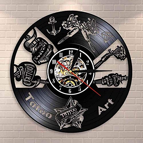 ZYBBYW Salón de Tatuajes Vinilo Mudo Registro Reloj de Pared Estudio de Tatuajes Signo de Pared Reloj Tienda Tatuaje Pared Art Deco Hipster Hombres Regalos