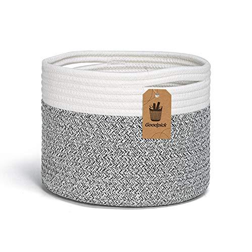 INDRESSME Kleiner Aufbewahrungskorb Geflochten aus Baumwoll für Handtücher im Kinderzimmer Regalkorb im Büro, D24 x H18 cm