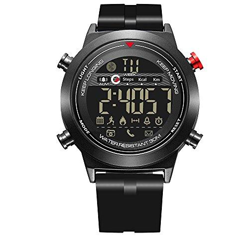 Fitness Tracker - Reloj Inteligente Deportivo Digital con Bluetooth, Impermeable, podómetro, cámara remota, recordatorio de Llamadas entrantes o Mensajes para iOS y Android, para Hombres y niños