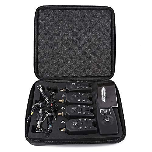 Drahtlose Digital Fishing LED Alarm Set 4 Angeln Bissanzeiger + 1 Empfänger mit LCD-Bildschirm-Anzeige + 4 Edelstahl-Kettenanhänger beleuchtet Swinger bei Karpfenangeln