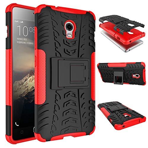 pinlu Funda para Lenovo Vibe P1 Smartphone Doble Capa Híbrida Armadura Silicona TPU + PC Armor Heavy Duty Case Duradero Protección Neumáticos Patrón Rojo