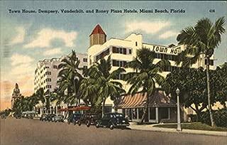 Town House, Dempsey, Vanderbilt and Roney Plaza Hotels Miami Beach, Florida Original Vintage Postcard