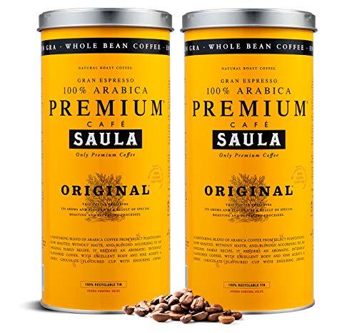 Grains de café Saula, Pack de 2 boîtes de 500 gr. Premium Original 100% Arabica