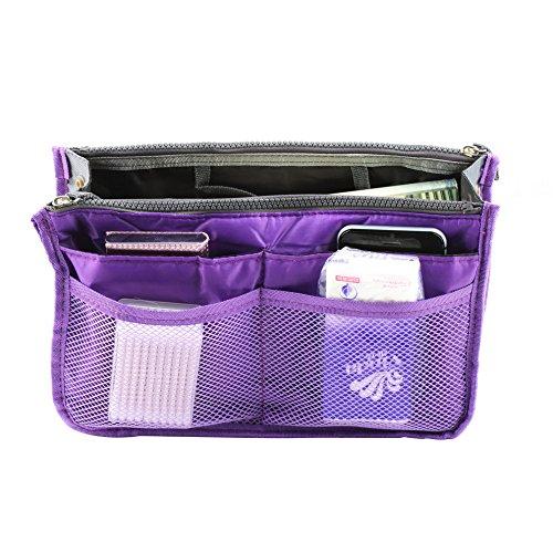 Boldion (TM) Sac en sac, double Zipper Voyage Portable multifonctions poches Sac de rangement Sac à main, Fadish Organiseur de voyage maquillage Sac