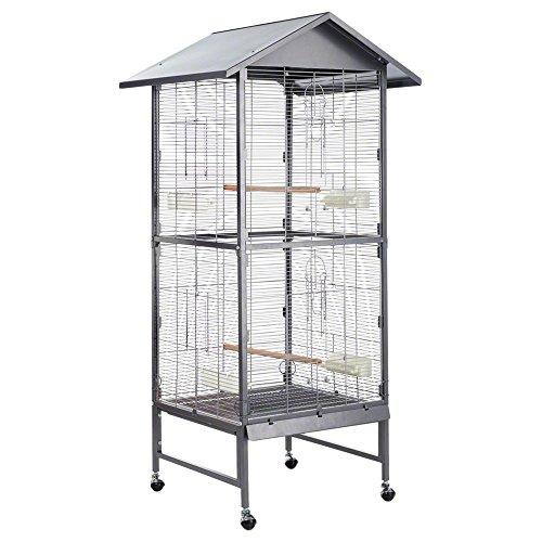 Montana Cages ® | Vogelvoliere Voliere Vogelkäfig Vogelhaus Käfig Villa Casa 60 - Antik/Platinum
