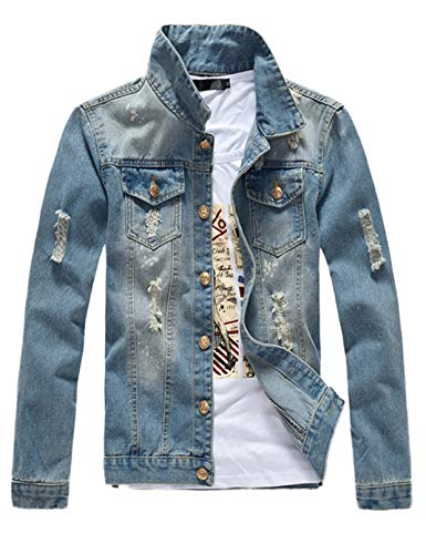 DSDZ Mens Classic Ripped Motorcycle Denim Jacket With Hole L(Asian 3XL)