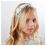 SWEETV Flower Girl Headpiece Ivory Tulle...