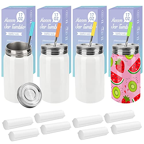 Sublimation Blanks Mason Jar Tumbler 17 OZ, Wide Mouth White Stainless Steel Tumbler Jar with Lid and Metal Straw for Cricut Mug Press Machine Sublimation Print 8 Sublimation Shrink Wrap Sleeves