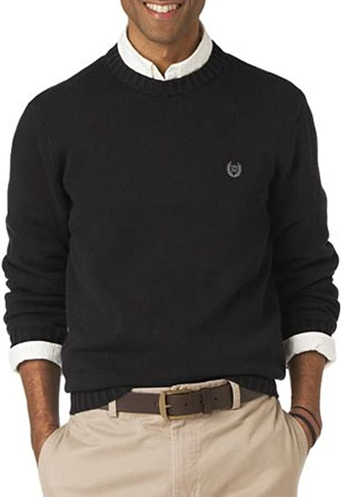 Chaps Mens Thick Cotton Pullover Sweater Size Small Crewneck Solid Black