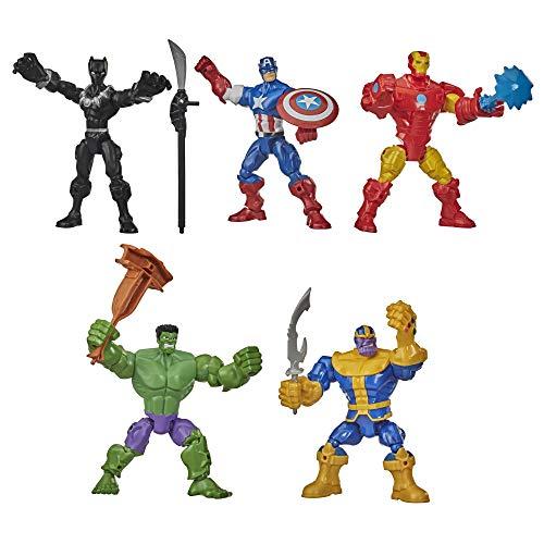 Hasbro Marvel Avengers Super Hero - Iron Man, Black Panther, Thanos, Hulk, Capitan America (Playset deluxe con 40 parti componibili e accessori)