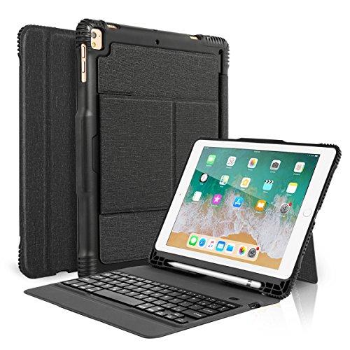 Coastacloud iPad 9.7 Keyboard Case with Pencil Holder for iPad 2018 6th Gen iPad 2017 5th Gen iPad Pro 9.7 iPad Air 2 Air 1, Detachable Bluetooth Keyboard with Shockproof Rugged Protective Case