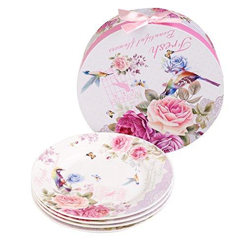 Plato de postre de porcelana fina China lateral para tartas, Rose Bird Butterfly, 8' 20cm
