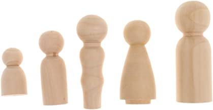 FITYLE Family Wooden Peg Doll Little People Child Peg Doll Wooden People Set of 15pcs