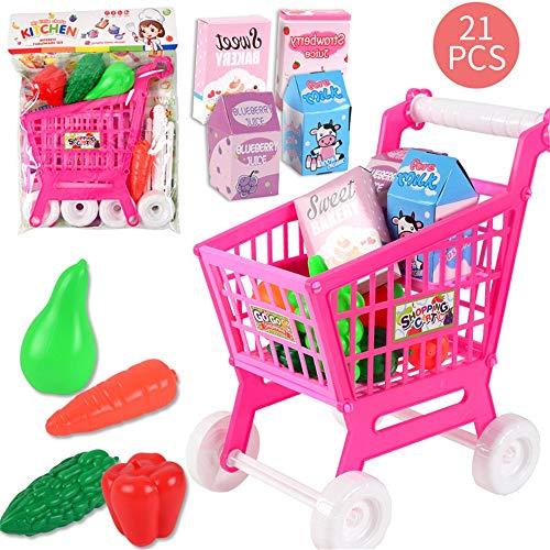 Deluxe juguete Carrito de la compra infantil Compras del rompecabezas del juguete 21 Piezas de Rol Simulación carretilla del supermercado juguete Los juegos de simulación Shop y Rol de juegos para niñ