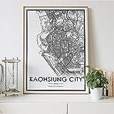 MG global KAOHSIUNG Stadtkarte und weißer Druck von Taiwan