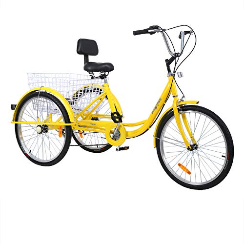 Iglobalbuy 6 Speed 3 Wheel Adult Tricycle Bike 24 Inch Three Wheel Cycling Pedal Cruiser Bicycle Road Bike Yellow