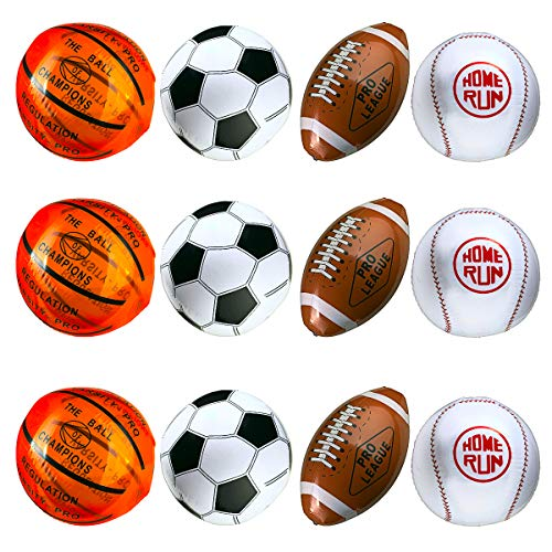"""12-Pack 16"""" Inflatable Sport Beach Balls - 3x Basketballs, 3x Baseballs, 3x Footballs, 3x Soccer Balls, Sports Party Decorations and Party Favors for Parties, 12 Safe & Strong Super Fun Inflated Toys"""