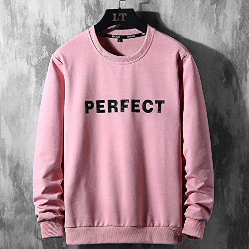 Capucha Sweater Bust Hoodie Streetwear Hip Hop Sudadera con Capucha para Hombre Pullover Casual Plus Size XXXL M09Pink