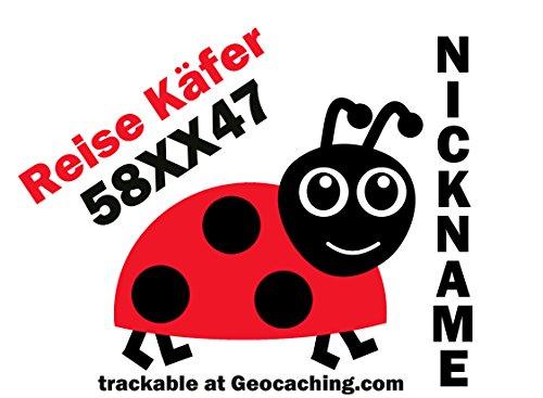 Geocaching Reisekäfer Travelbug Autoaufkleber trackbar Groundspeak 2 farbig mit Trackingnummer