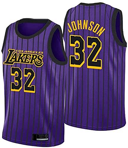 Ropa Jerseys de baloncesto de los hombres, Los Ángeles Lakers # 32 Earvin Johnson NBA VERANO VERANO VERANO VESTULERTAS T-SHIRTS Casual Uniformes de baloncesto Tops sueltos, púrpura, L (175 ~ 180 cm)