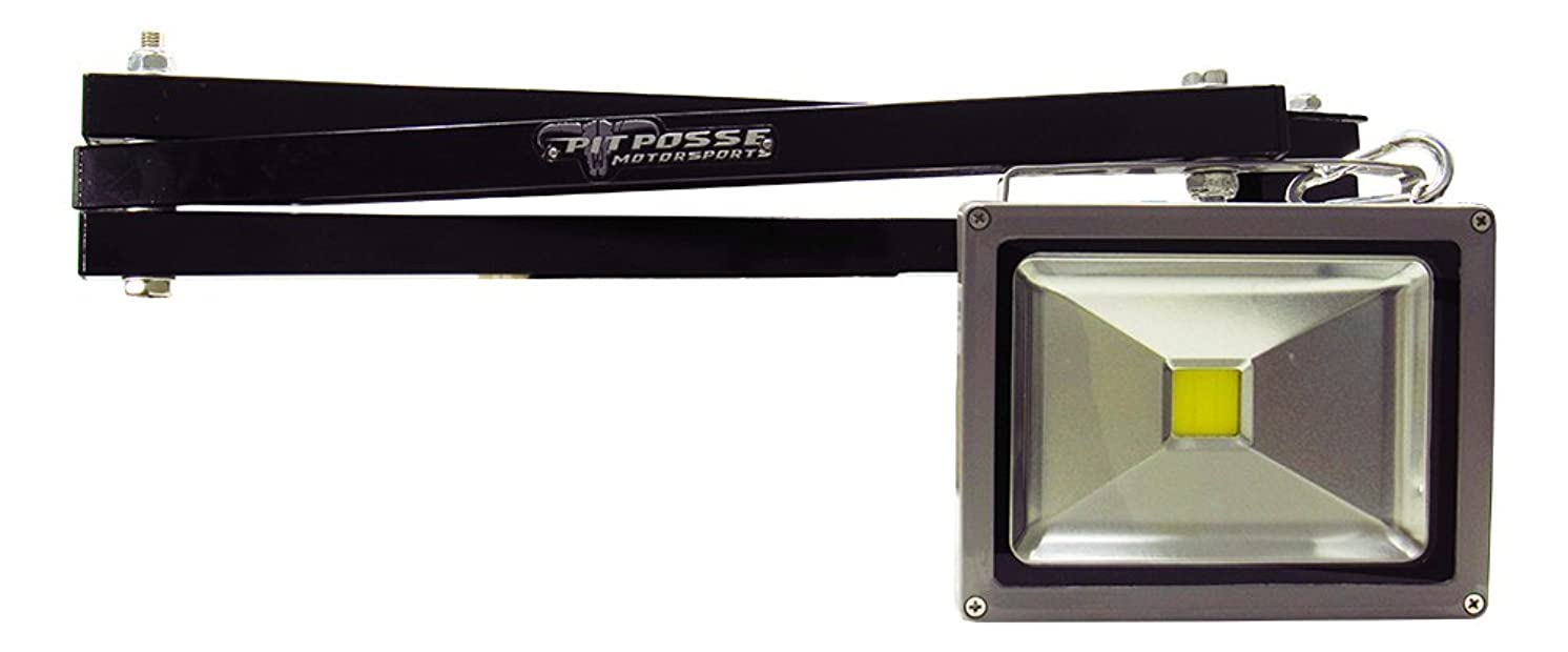 Pit Posse Swing Arm LED Light - Made of Aluminum - Industrial for Warehouses, Trailers, Docks, Enclosed Cargo Race Boat Car Trailer Shop Garage Accessory Cabinet Components (Black)