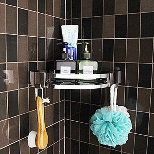Mentalism Estantería de ducha para cuarto de baño, de acero inoxidable, triangular, sin agujeros, montaje en pared, 27,5 x 4 x 20 cm