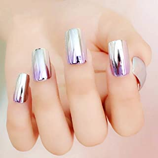 THE LONDON STORE Women's Silver-Purple Shaded Mirror Finish Acrylic Bridal Wedding Artificial Nails with Glue (All Sizes)