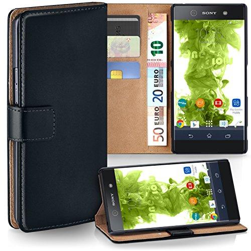 MoEx Premium Book-Hülle Handytasche passend für Sony Xperia XA1 | Handyhülle mit Kartenfach & Ständer - 360 Grad Schutz Handy Tasche, Schwarz