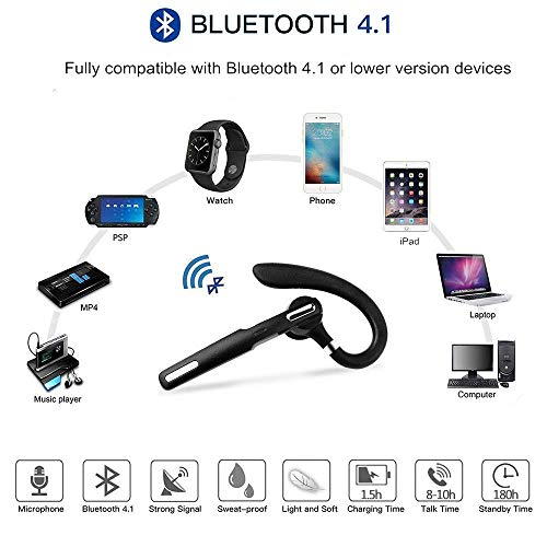 Bluetooth Headset, Wireless Bluetooth Earpiece V4.1 8-10 Hours Talktime Stereo Noise Cancelling Mic, Compatible for iPhone Android Cell Phones Driving/Business/Office (Black)