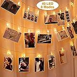 LED Fotoclips Lichterkette, FOCHEA LED Foto Clip Lichterkette Batteriebetrieben 5 m 40-LED-Lichterketten, 8 Modi, Dekoration für Wohnzimmer, Schlafzimmer, Weihnachten, Hochzeiten, Party, innen,Haus