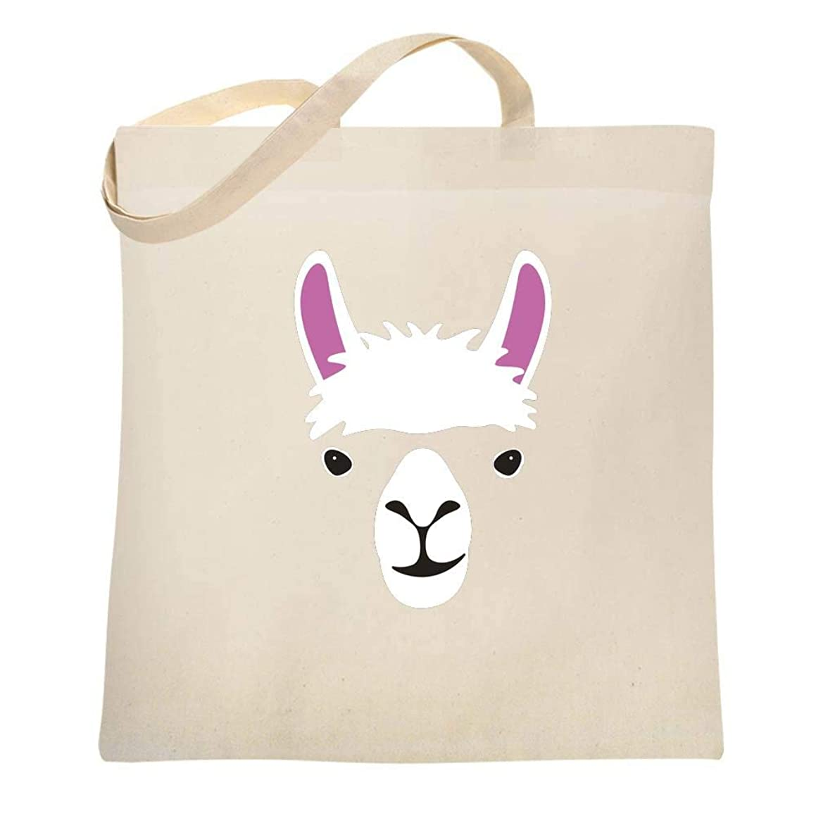 Llama Big Animal Face Cute Funny Canvas Tote Bag