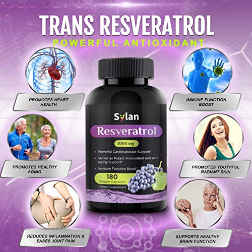 51rtoAoKLeL - Sylan Trans Resveratrol 1000mg 180 Capsules Antioxidant Anti Aging Supplement Supports Heart Health Natural Weight Loss Joint Support Brain Function & Immune System Health Veggie Non-GMO Made in USA