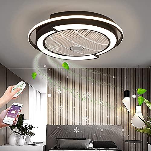 ZBYL Ventilador de Techo Negro LED Lámpara de Techo Regulable Ventilador de Techo con luz y Mando a Distancia Invisible Silencioso Fan Iluminación para salón Dormitorio, 3 Velocidades De Viento