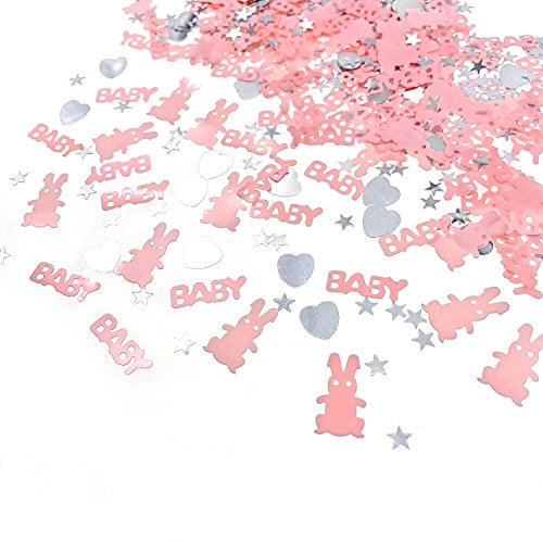 JZK 4 Paquetes Confeti Rosa niña Baby Shower decoración de Mesa cumpleaños bebé Bautizo comunión Fiesta
